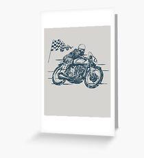 Motorbike, Vintage, Retro Illustration / Motorrad, Rennfahrer Greeting Card