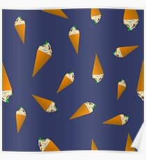 Ice Cream Seamless Pattern on Blue Background Poster