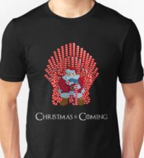 Christmas Is Coming Santa On Candy Cane Throne  T-Shirt