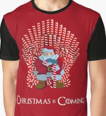 Christmas Is Coming Santa On Candy Cane Throne  Graphic T-Shirt