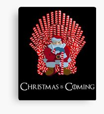 Christmas Is Coming Santa On Candy Cane Throne  Canvas Print