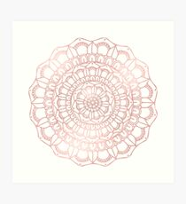 Rose Gold Hand Drawn Boho Mandala Art Print