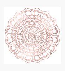 Rose Gold Hand Drawn Boho Mandala Photographic Print