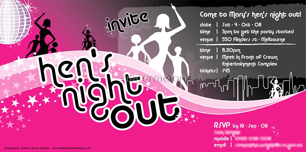 Hen's Night Out Invitation by watermelon