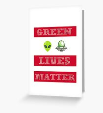 Green Lives Matter Funny Alien UFO Ugly Sweater Christmas Greeting Card