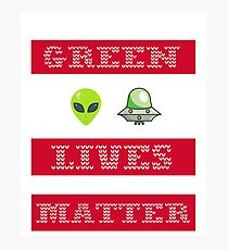 Green Lives Matter Funny Alien UFO Ugly Sweater Christmas Photographic Print