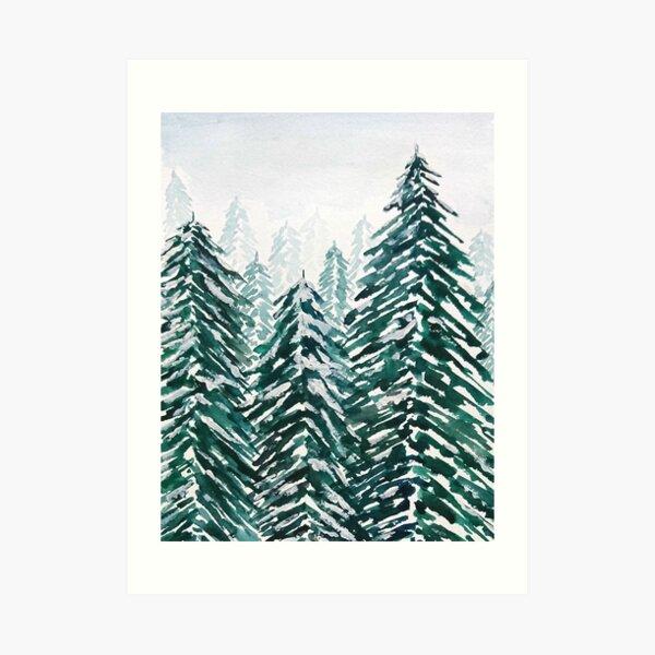 snowy pine forest green  Art Print