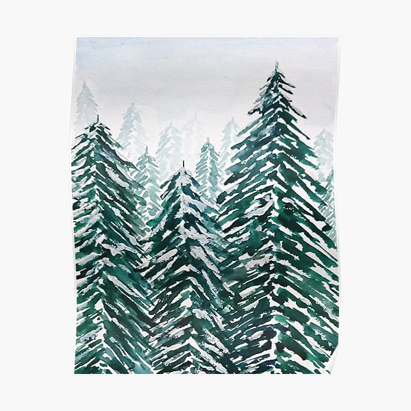 snowy pine forest green  Poster