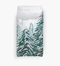 snowy pine forest green  Duvet Cover