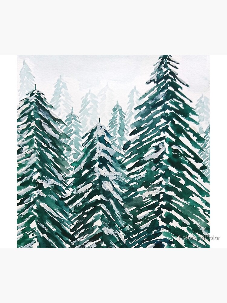 snowy pine forest green  by ColorandColor