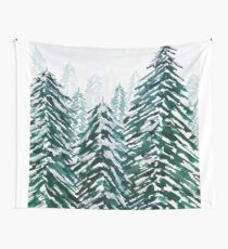 snowy pine forest green  Wall Tapestry