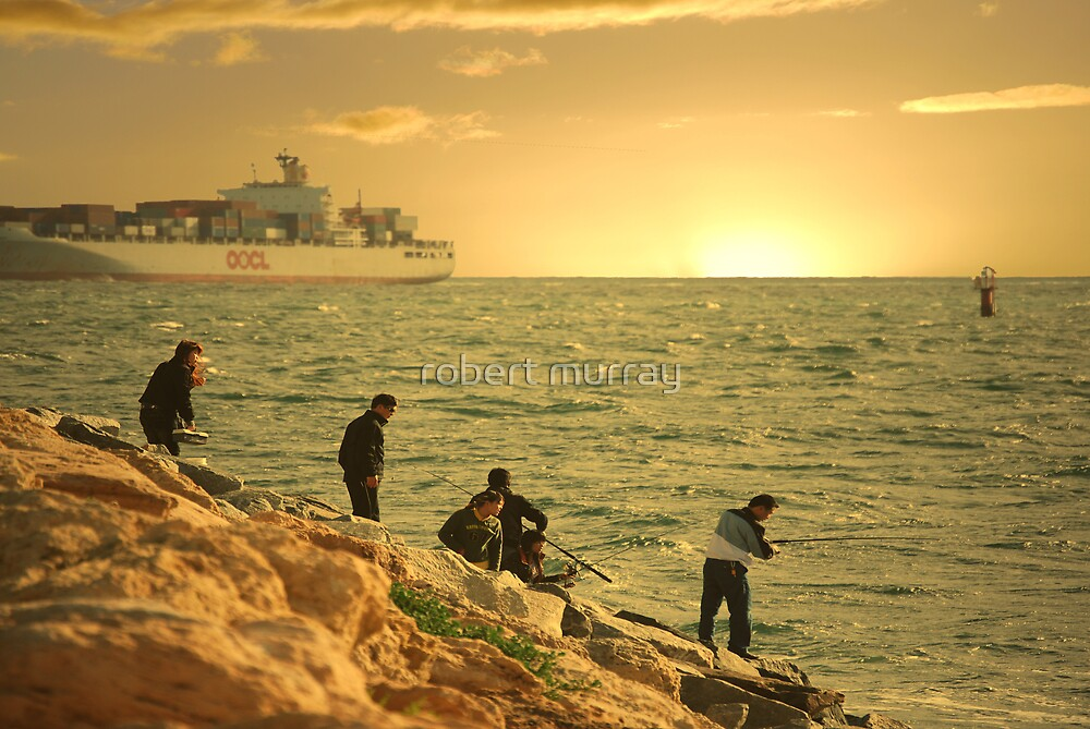 Fishing at sunset Fremantle by robert murray