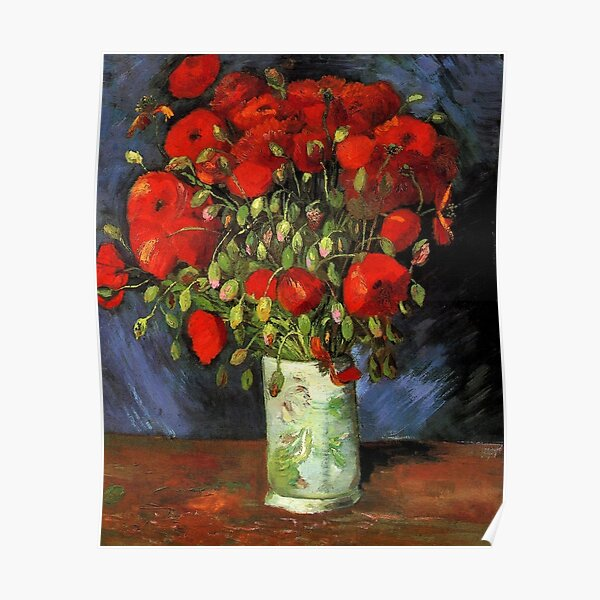 Vintage Vincent Van Gogh Vase of Red Poppies 1886 Fine Art Poster