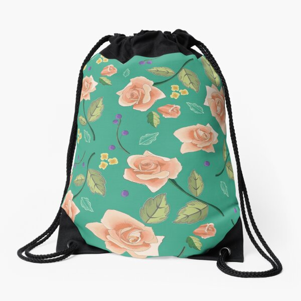 Roses on Teal Drawstring Bag