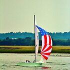 US Flag Sailboat by Cynthia48