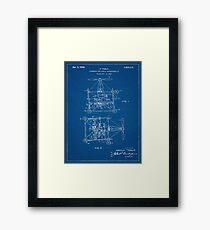 1928 Nikola Tesla Helicopter Pateent Blueprint Framed Print