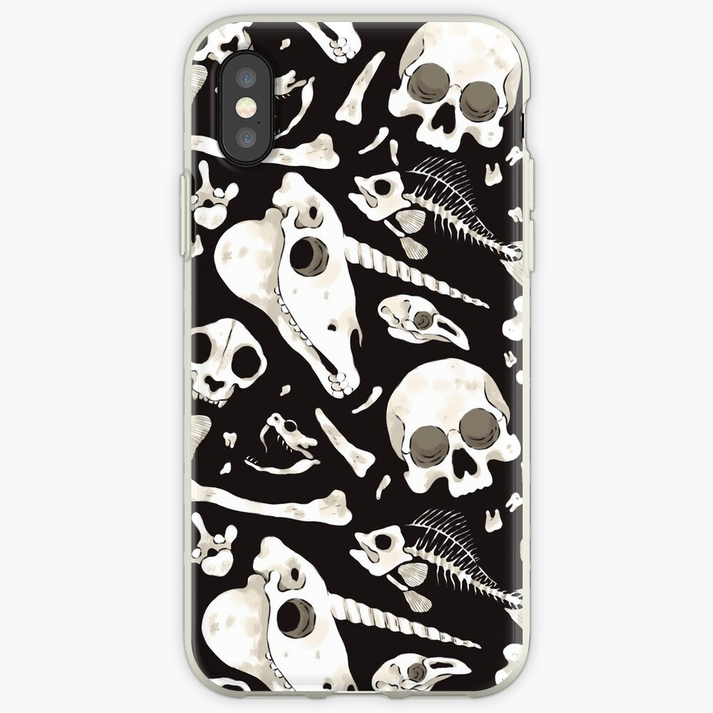 black Skulls and Bones - Wunderkammer iPhone Case & Cover