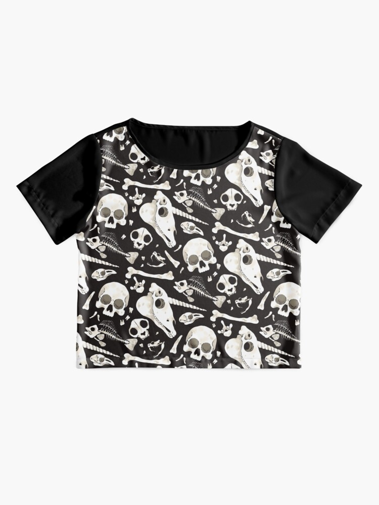 Alternate view of black Skulls and Bones - Wunderkammer Chiffon Top
