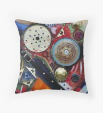 A Cog in the Machine (Mixed Material Assemblage)- Throw Pillow
