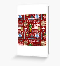 Buddy the Elf collage, Red background Greeting Card