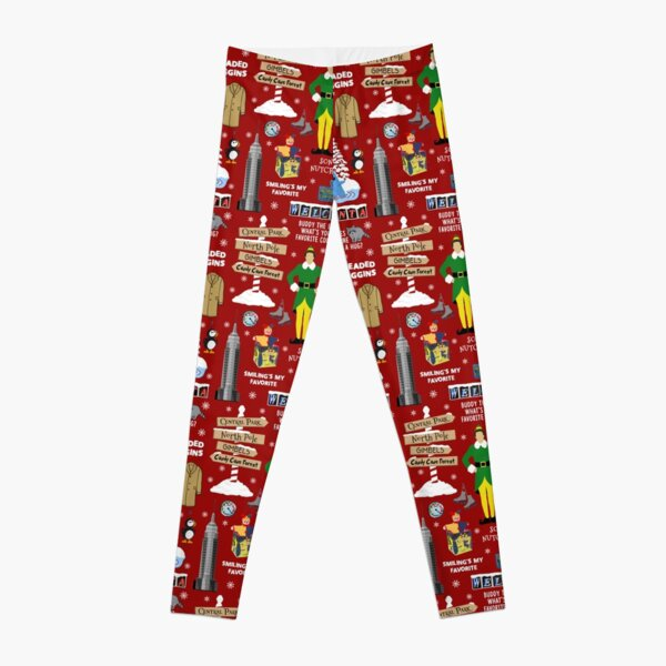 Buddy the Elf collage, Red background Leggings