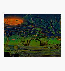 Spooky Graveyard Night Green Photographic Print