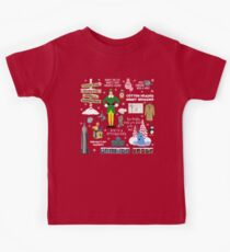 Buddy the Elf collage, Red background Kids T-Shirt