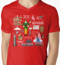 Buddy the Elf collage, Red background Men's V-Neck T-Shirt