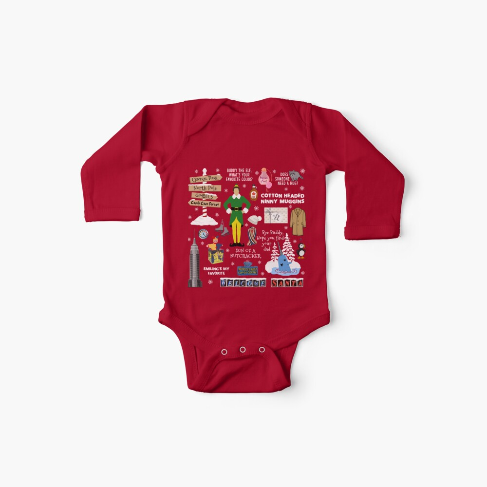 Freund die Elfencollage, roter Hintergrund Baby Body