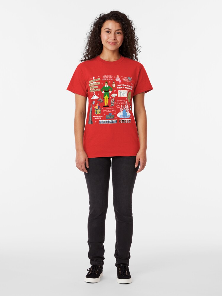 Alternate view of Buddy the Elf collage, Red background Classic T-Shirt