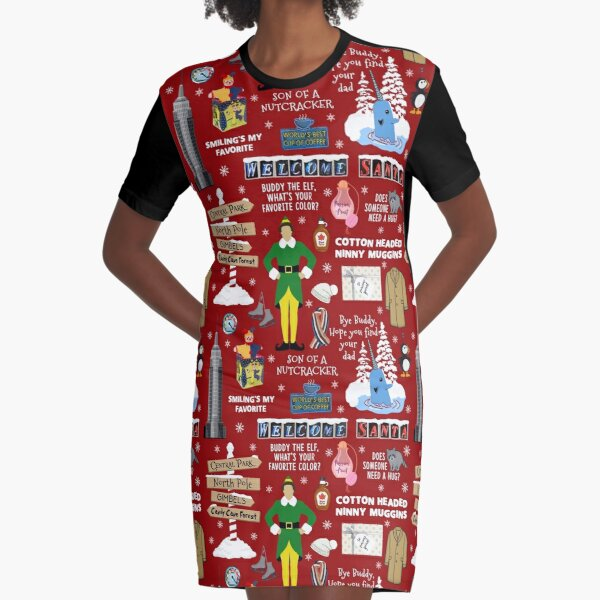 Buddy the Elf collage, Red background Graphic T-Shirt Dress