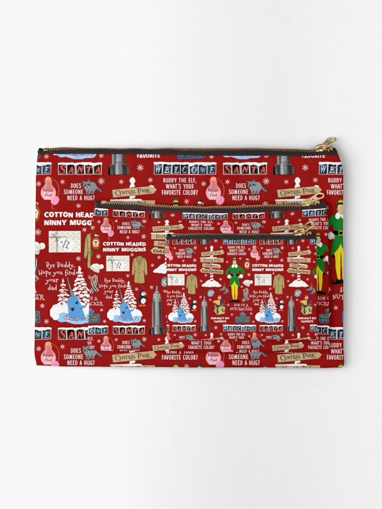 Alternate view of Buddy the Elf collage, Red background Zipper Pouch