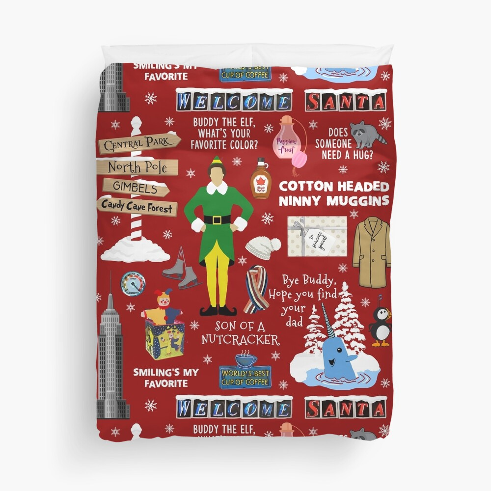 Buddy the Elf collage, Red background Duvet Cover