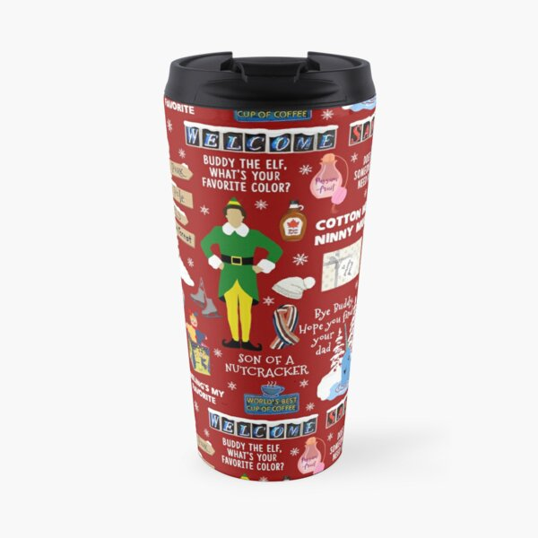 Buddy the Elf collage, Red background Travel Mug