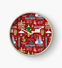 Buddy the Elf collage, Red background Clock