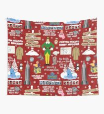 Buddy the Elf collage, Red background Wall Tapestry