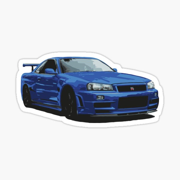 Nissan R34 GTR Skyline blue Sticker