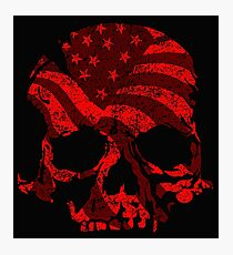 American Skull Red  Photographic Print