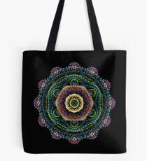 Fractal mandala on black Tote Bag