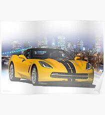 """Chevrolet Corvette C7 """"Nachtleben"""" Poster"""