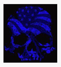 American Skull Blue  Photographic Print