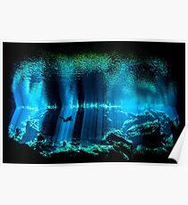 Cave Diving Scuba Diver Underwater Dive Poster