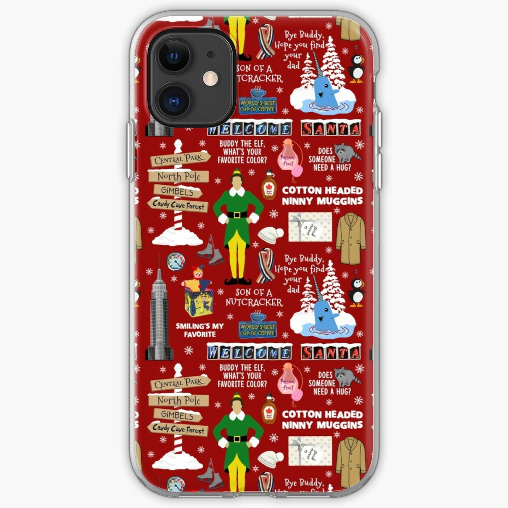 Buddy the Elf collage, Red background iPhone Case & Cover