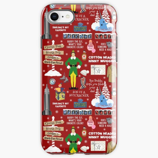 Buddy the Elf collage, Red background iPhone Tough Case