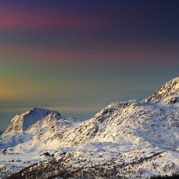 Snowy Mountain Peak Ski Snowboard Landscape Aurora by DV-LTD
