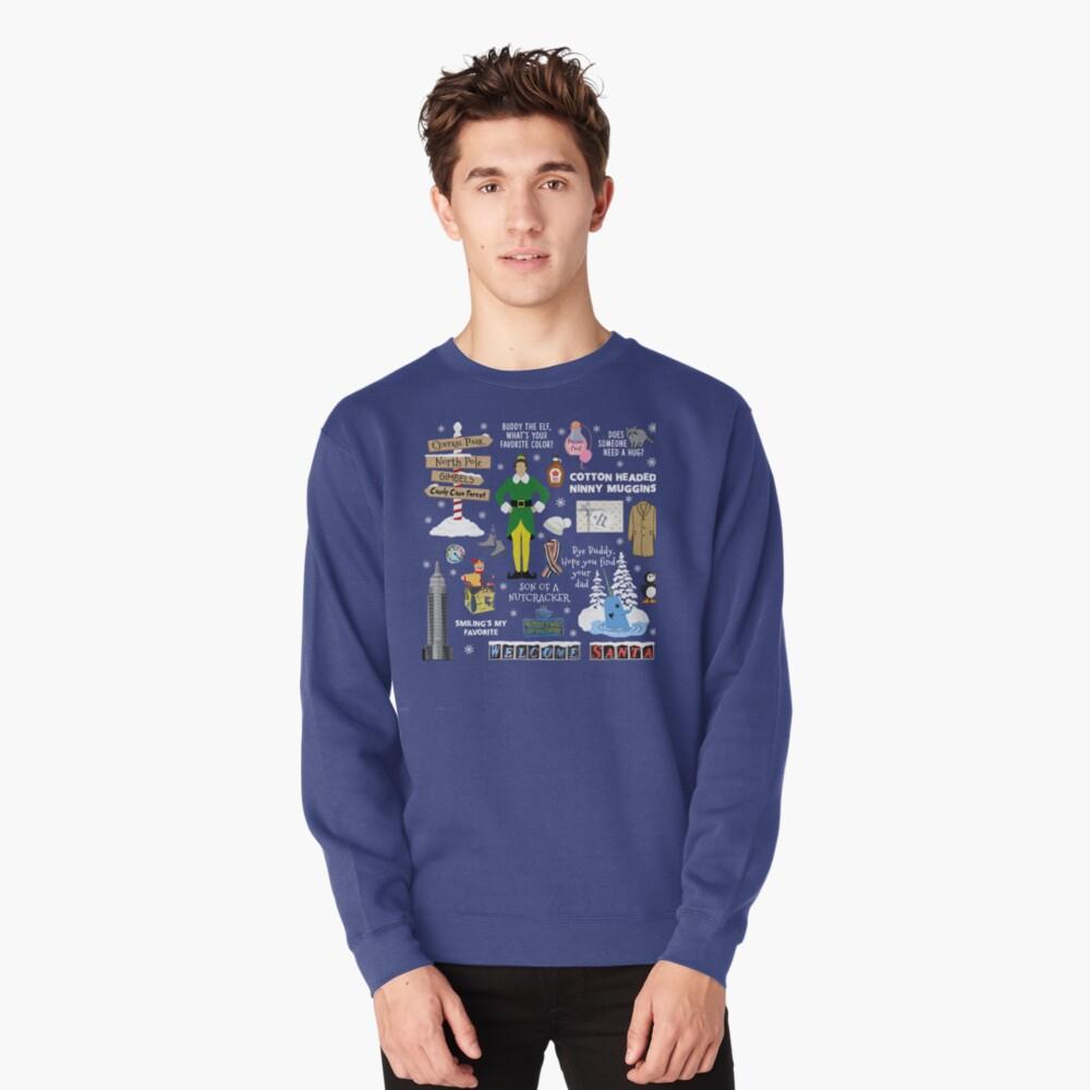 Freund die Elfencollage, blauer Hintergrund Pullover