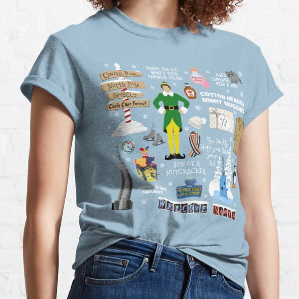 Buddy the Elf collage, Blue background Classic T-Shirt
