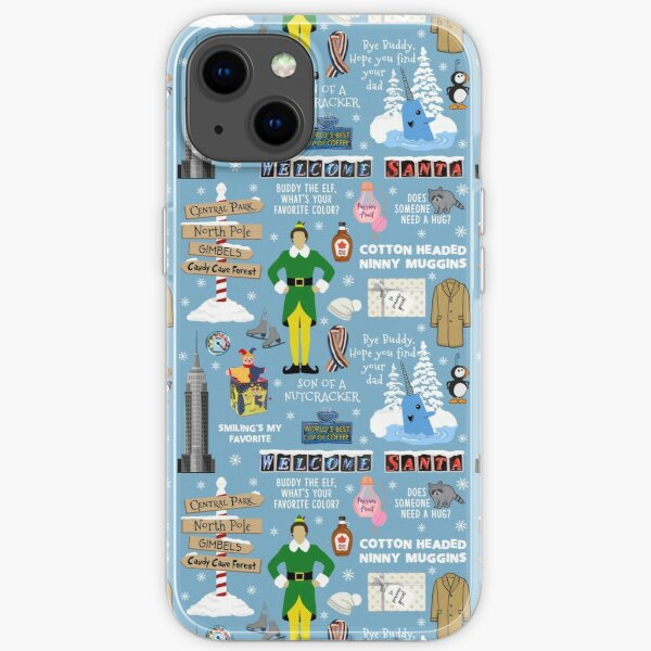 Buddy the Elf collage, Blue background iPhone Soft Case
