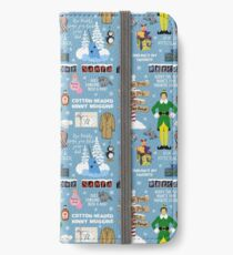 Buddy the Elf collage, Blue background iPhone Wallet/Case/Skin