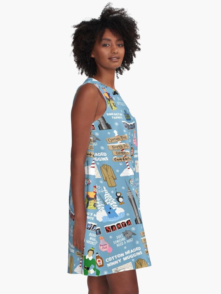 Alternative Ansicht von Freund die Elfencollage, blauer Hintergrund A-Linien Kleid